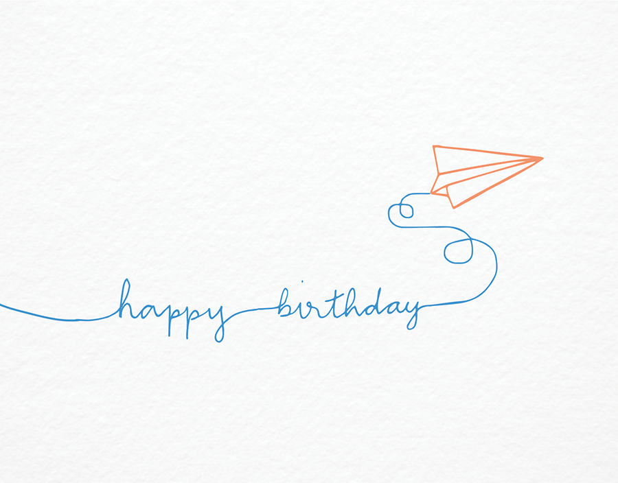 Cute Paper Airplane Birthday Card