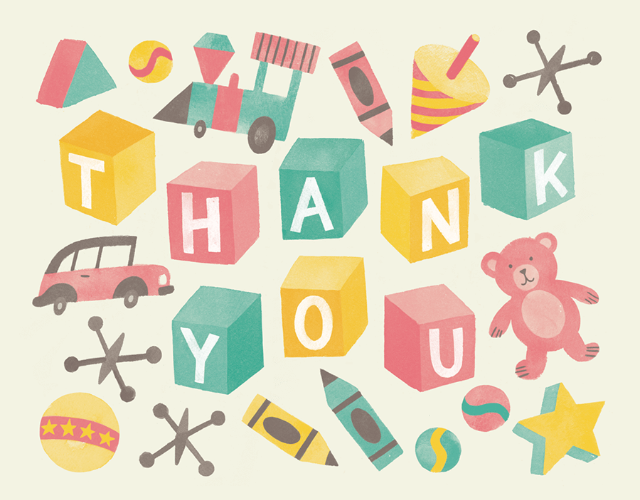 Vintage Toys Thank You Card