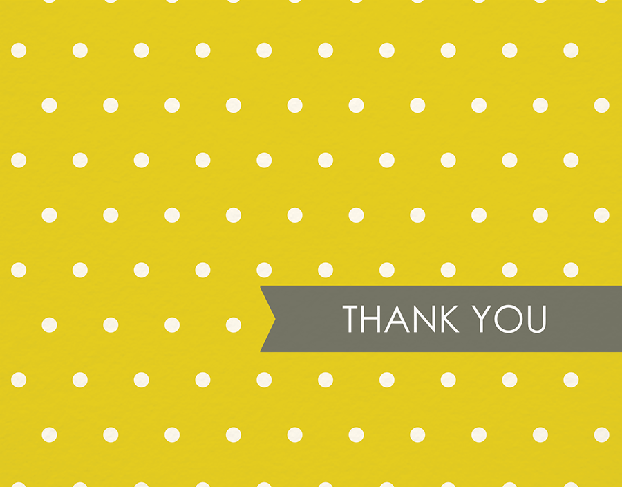 White on yellow polka dot thank you card