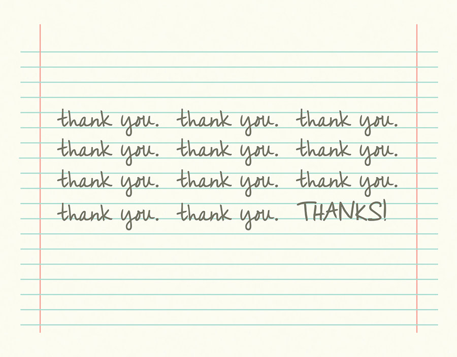 Cursive Thank You on College Ruled Note