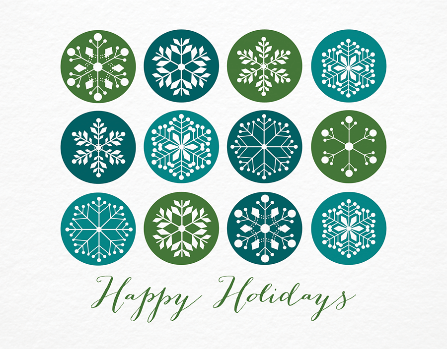 Blue and Green Showflakes Holiday Card