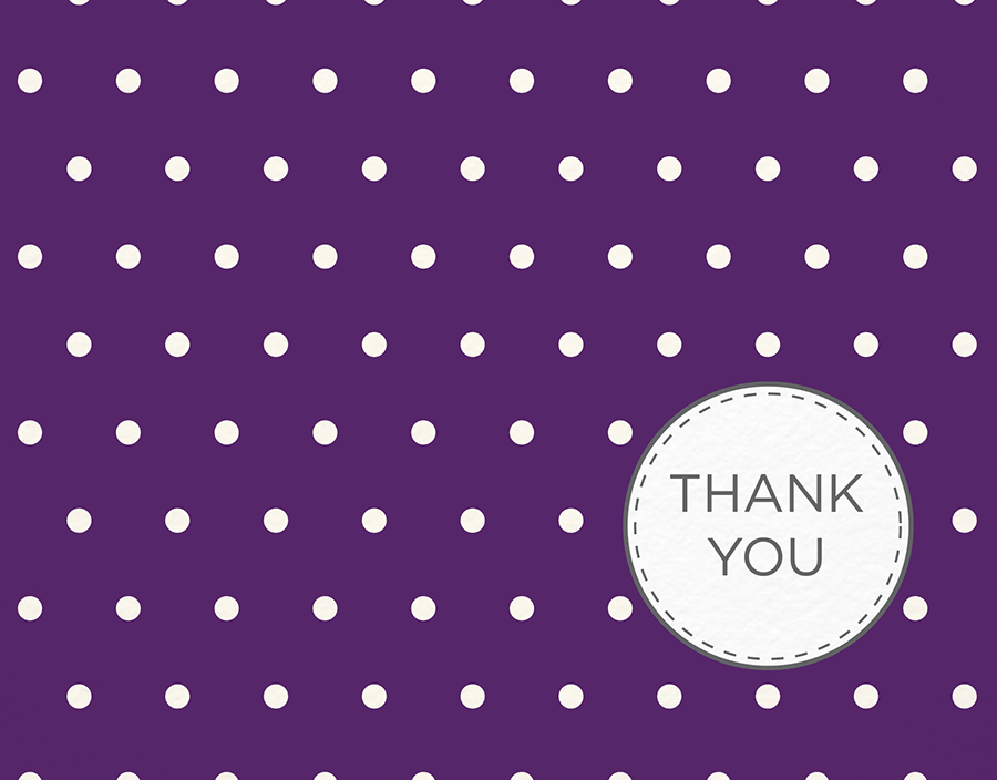 Purple polka dots Thank You card