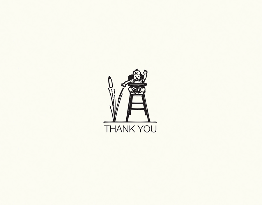Minimal drawing baby thank you card