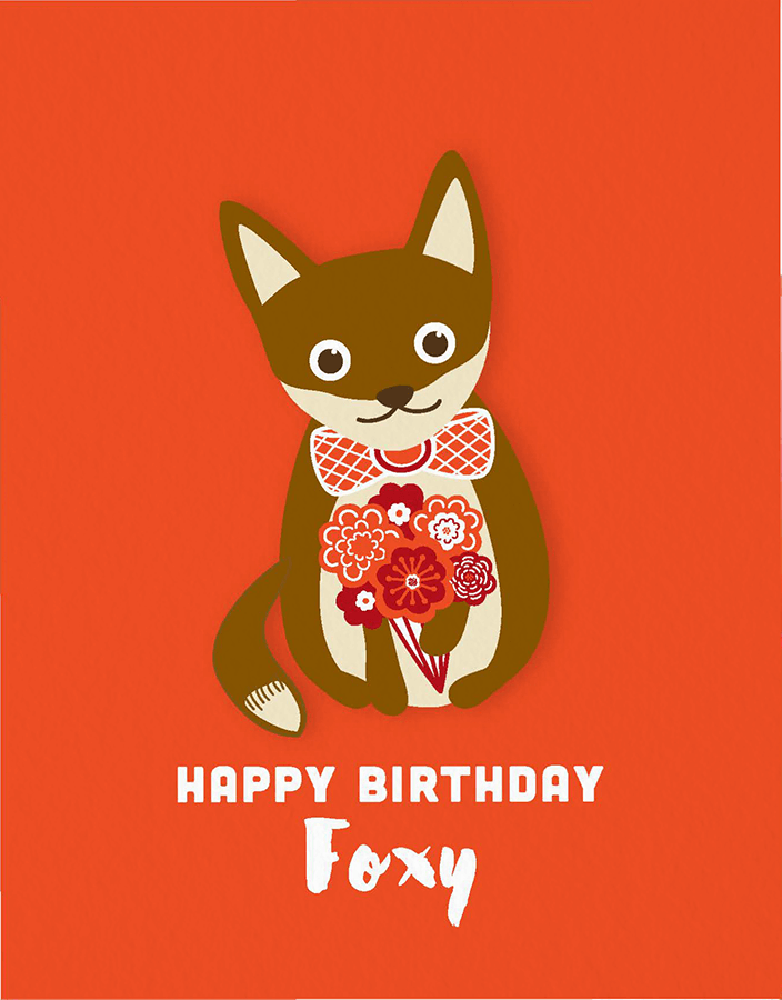 Foxy Flowers Birthday Card