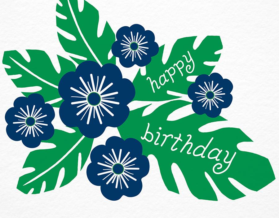 Tropical Indigo Flowers Birthday Card