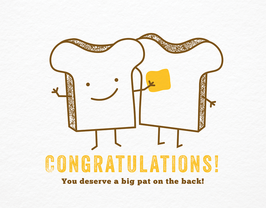 Cute Butter and Toast Congratulations Card