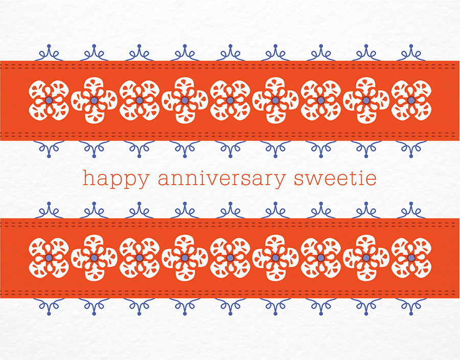 Folksie Ribbon Happy Anniversary Card