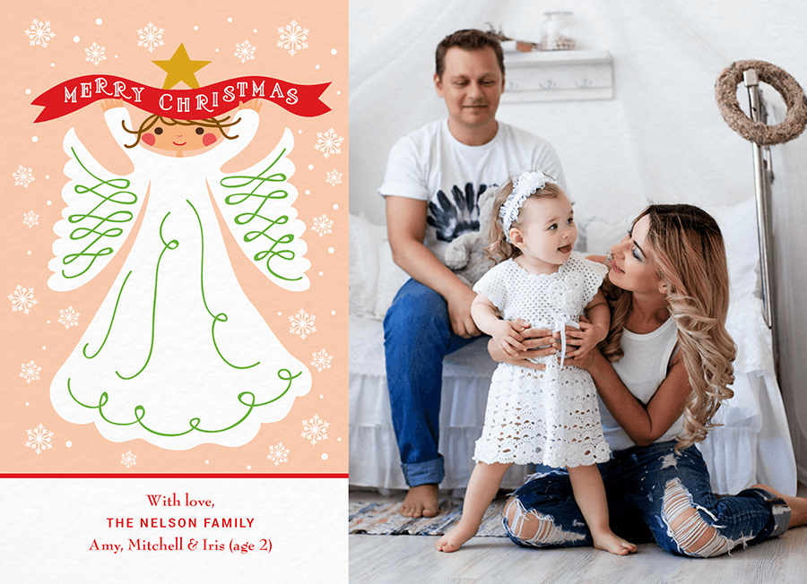 Red Ribbon Photo Merry Christmas Card