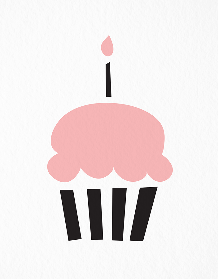 Fun Pink Cupcake Birthday Card