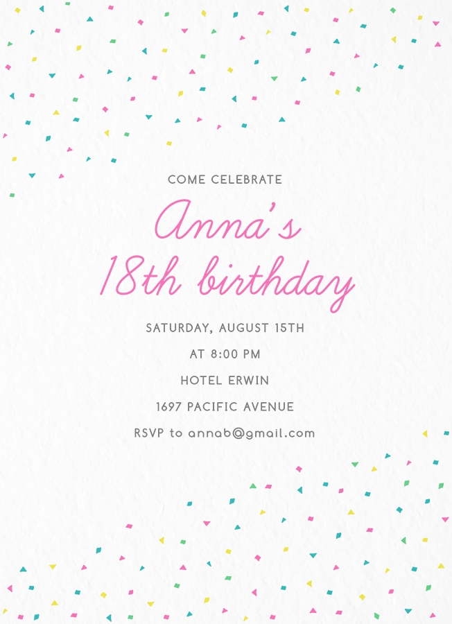 Confetti Birthday Invite