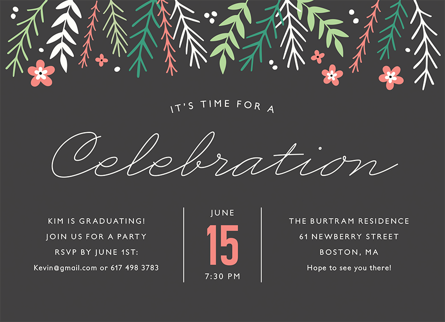 Charcoal Floral Invite