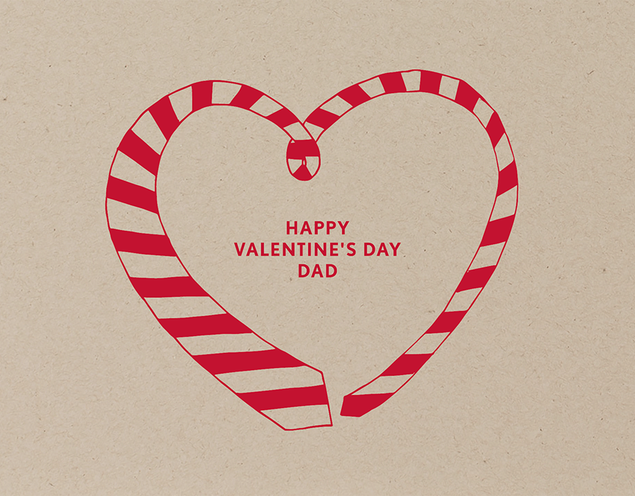 Striped Tie Valentine Card for Dad