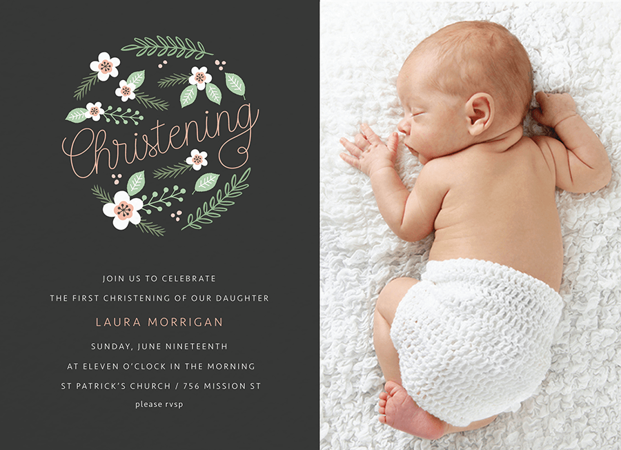 Floral Circle Photo Christening