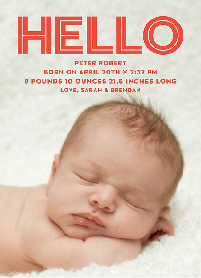 Bold Red Hello Birth Announcement