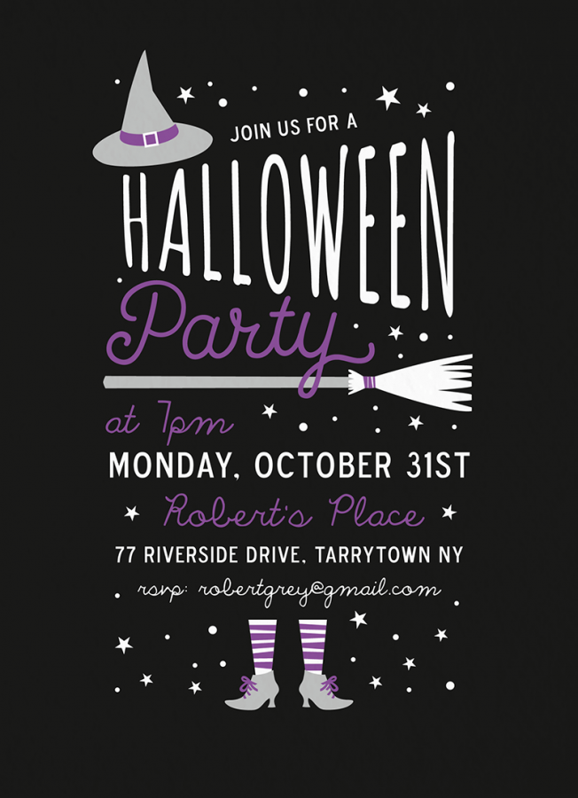 Purple Witch Halloween Party Invite