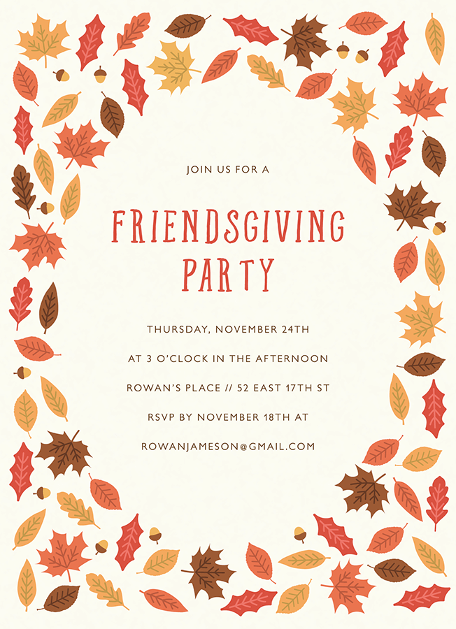 foliage friendsgiving party invite by postable postable