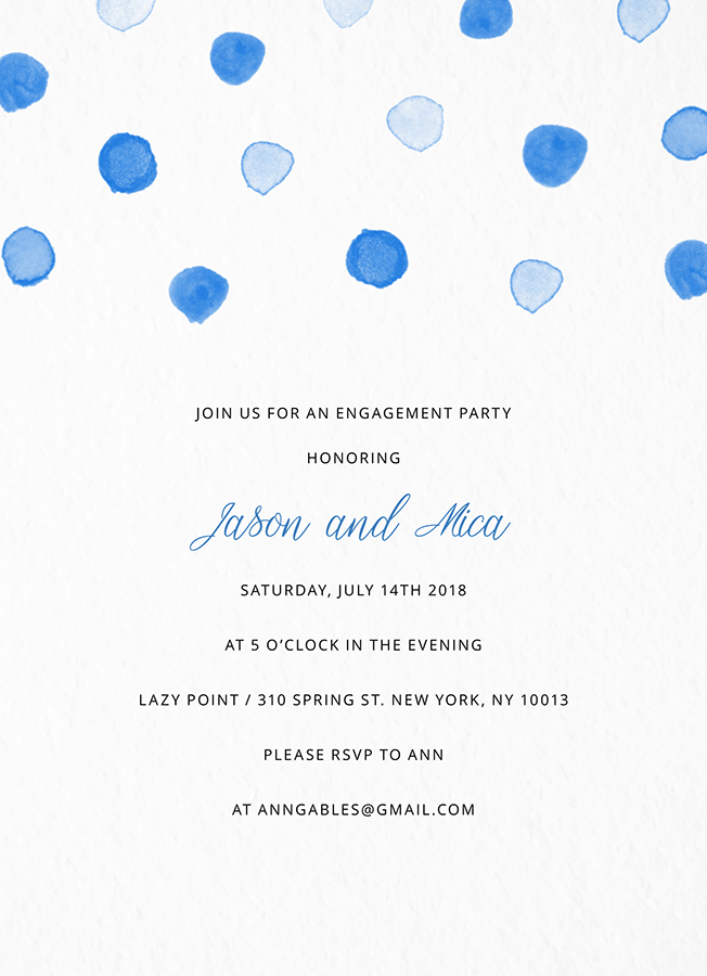 Blue Dots Engagement Party