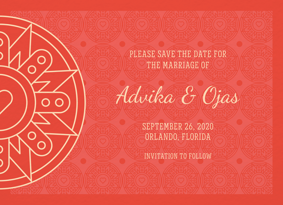 Red Decorative Save The Date