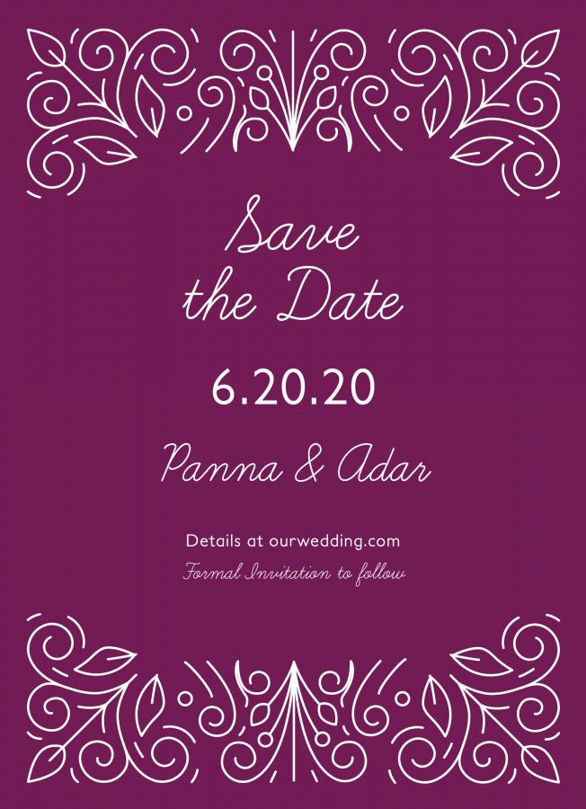 Purple Ornament Save The DateSaturday, June 20th 2020
