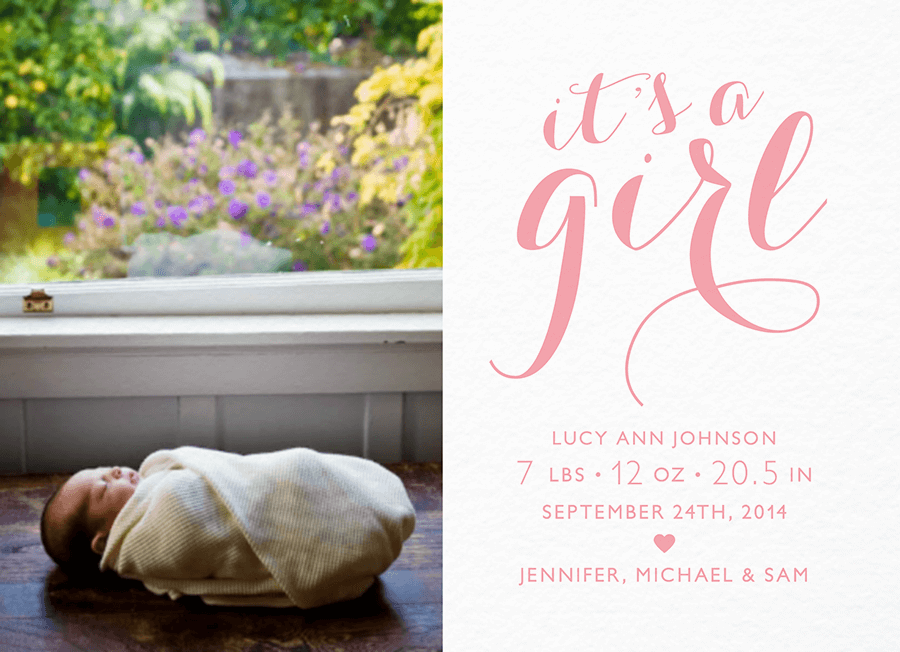 It's A Girl Sweet Script Announcement