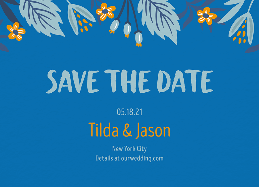 Blue Botanical Save The Date