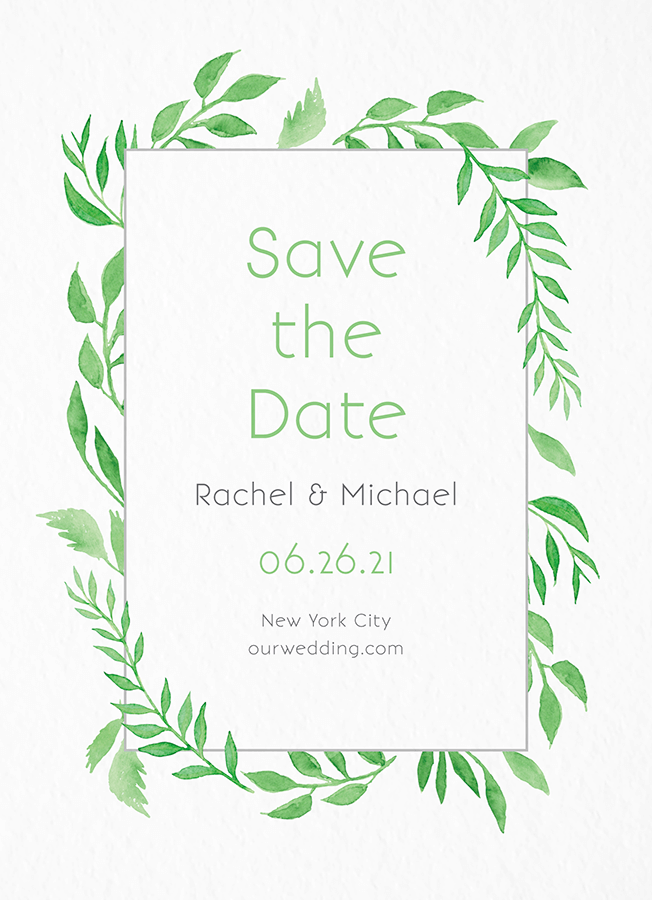 Watercolor Leave Save The Date