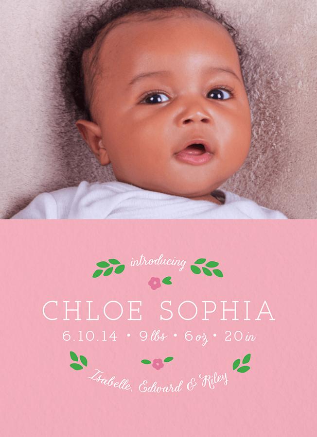 Dainty Pink Birth Announcement