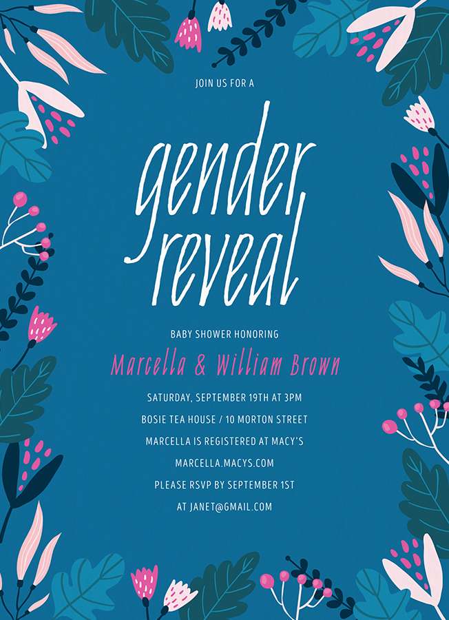 Blue Floral Gender Reveal