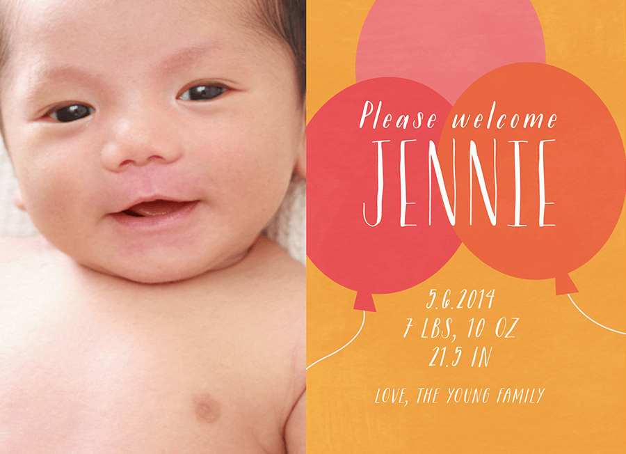 Orange Balloons Birth Announcement