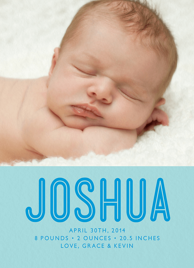 Bold Name Blue Birth Announcement