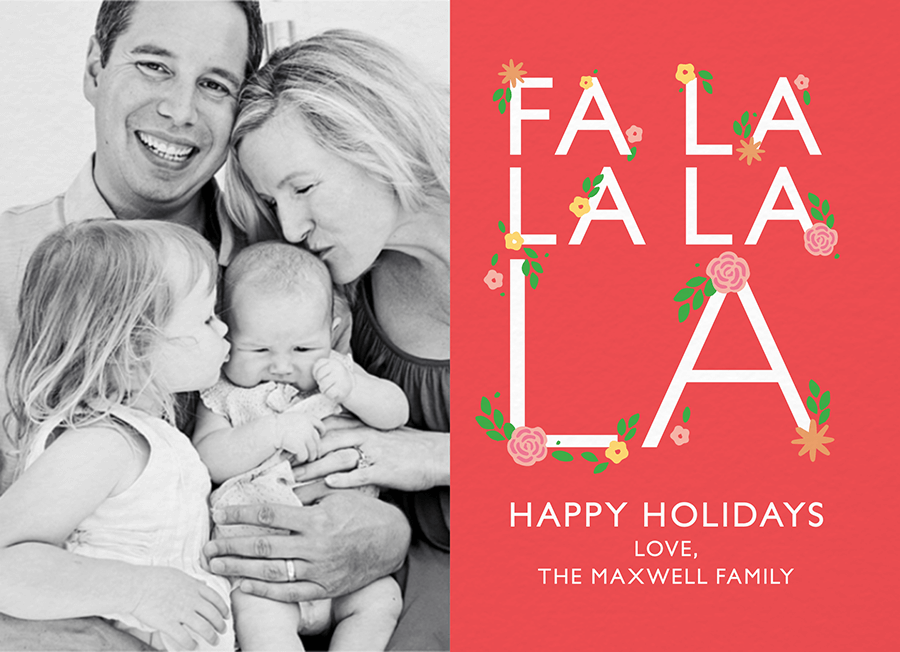 Fa La La Floral Holiday Photo Card