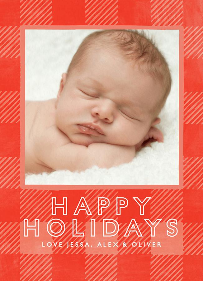 Red Plaid Custom Holiday Card