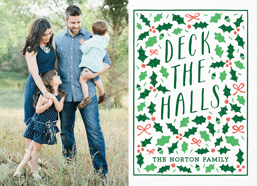 Deck The Halls Custom Holiday Card