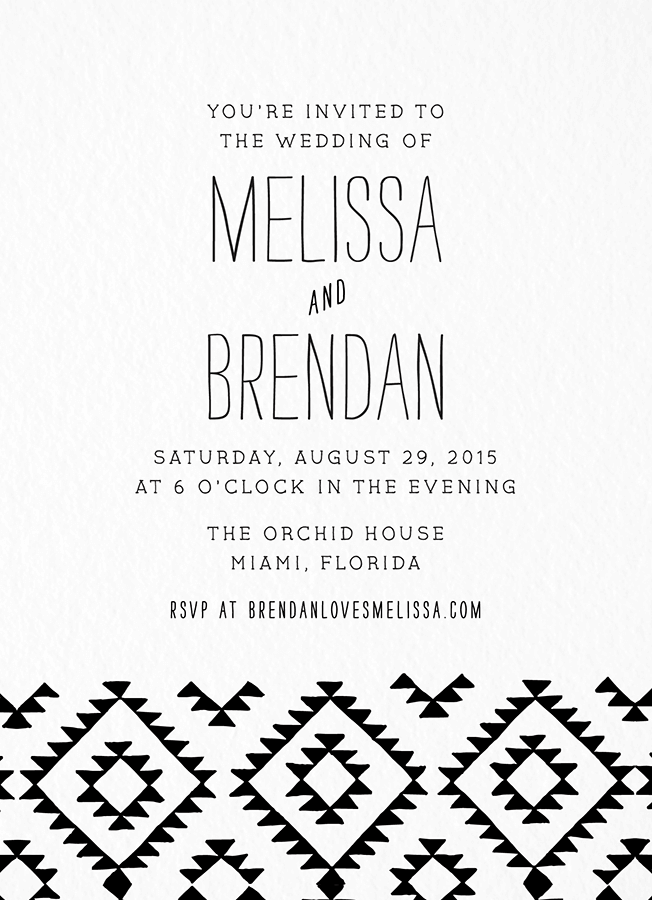 Black Kilim Wedding Invitation