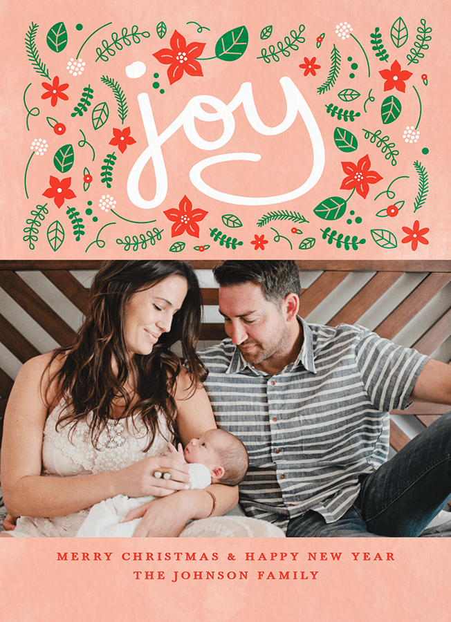Pink Christian Photo Christmas Card