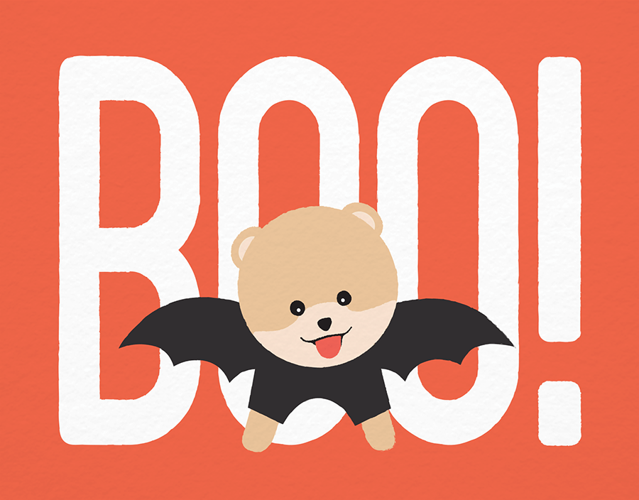 Boo In Costume Halloween Card