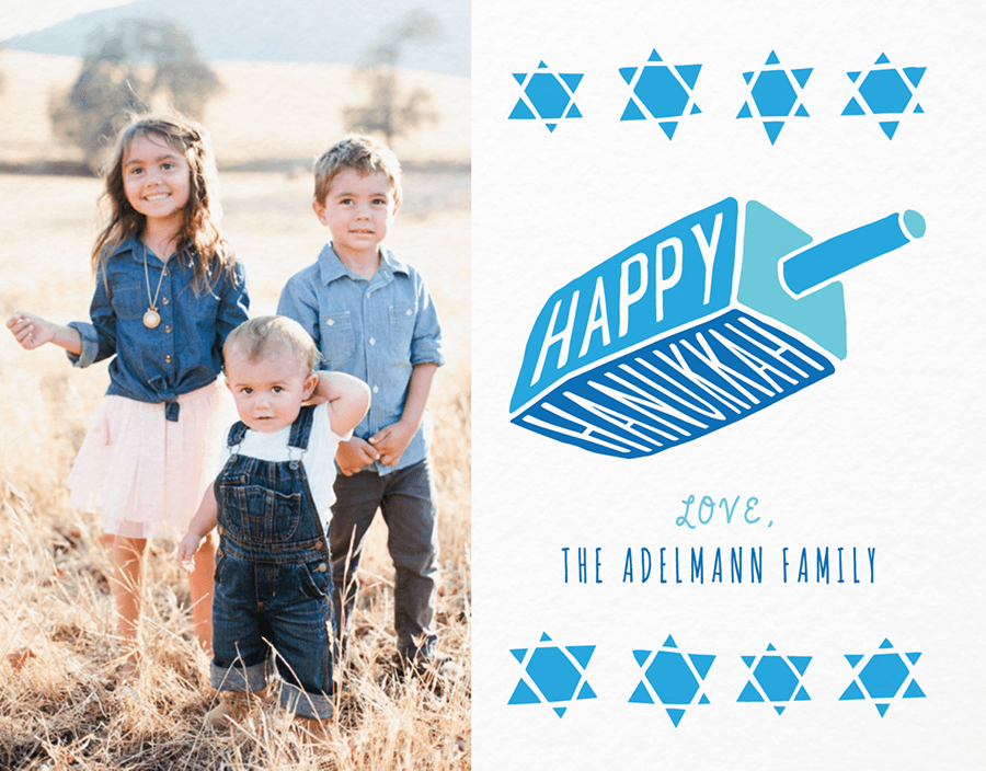 Cute Dreidal Photo Hanukkah Card