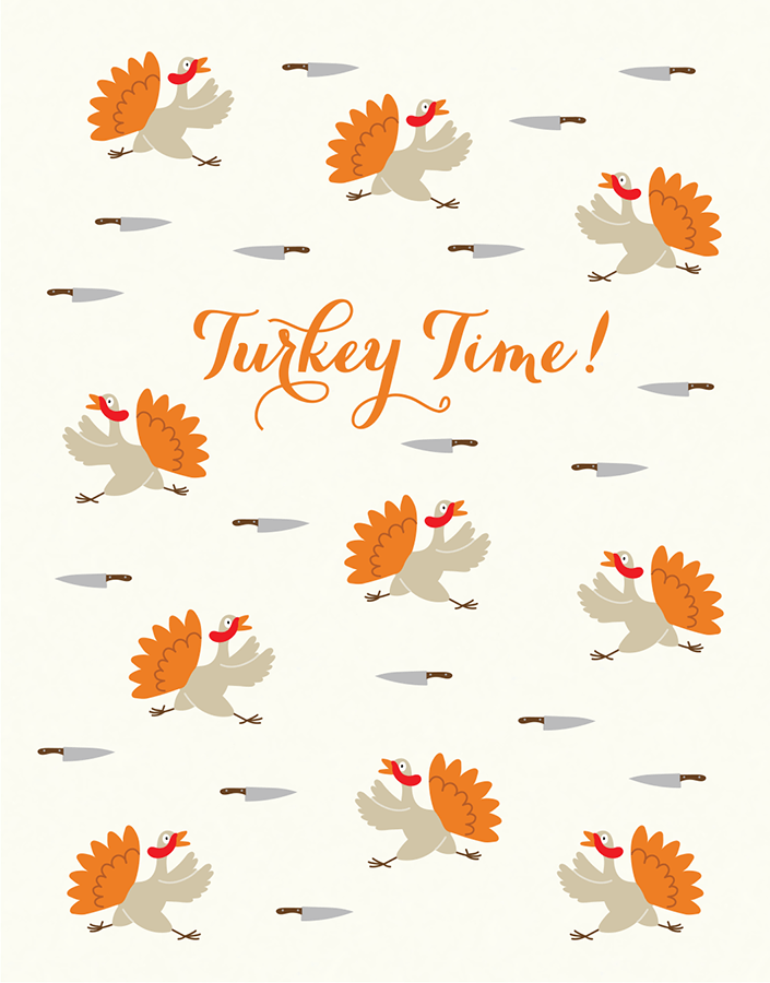 Turkey Time Thanksgiving Card