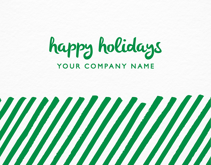 Green Diagonal Business Holiday Card