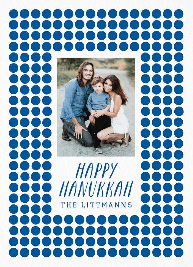 Blue Circles Hanukkah Card