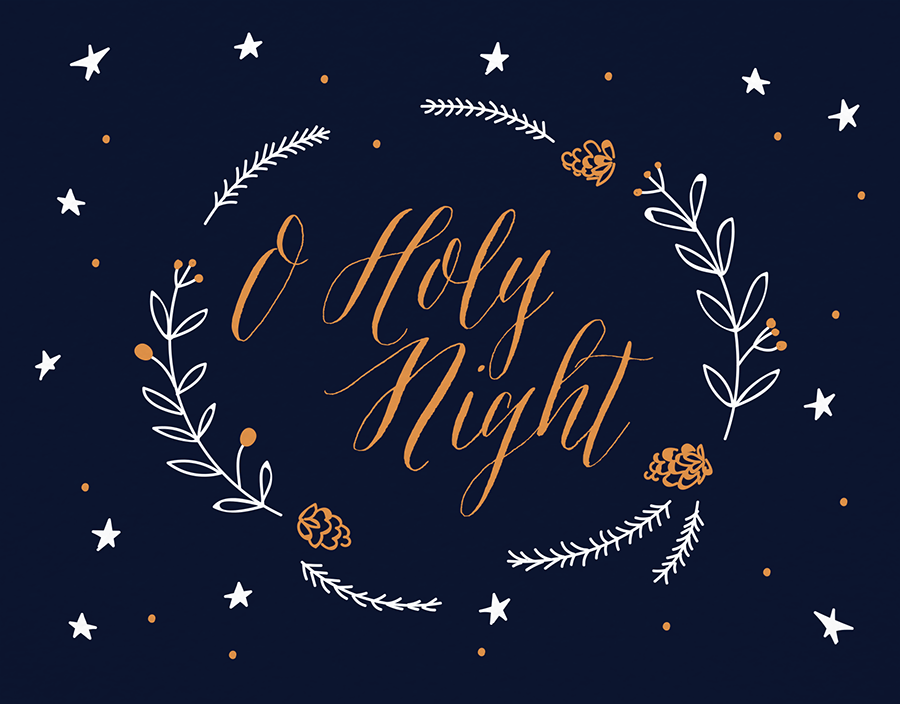 Holy Night Wreath Christmas Card