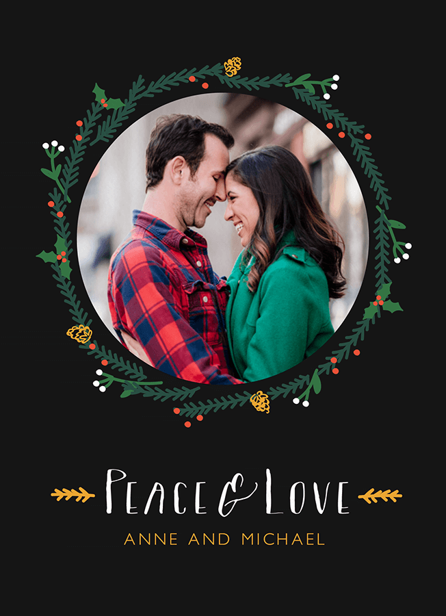 Peace and Love Wreath Photo Holiday Card