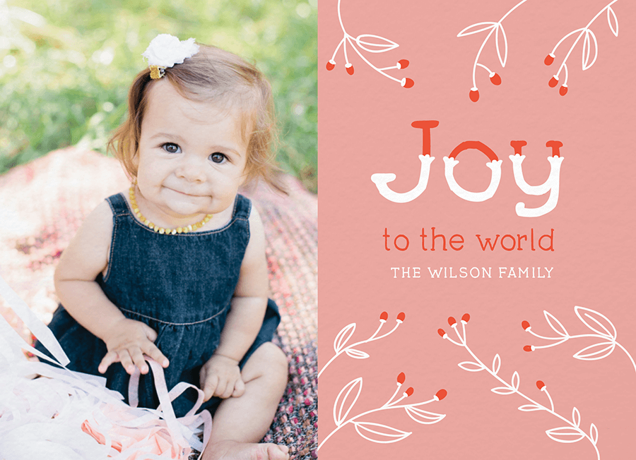 Joy Branches Custom Holiday Card