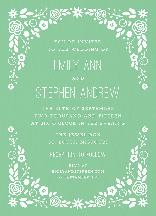 Green Florals Wedding Invitation