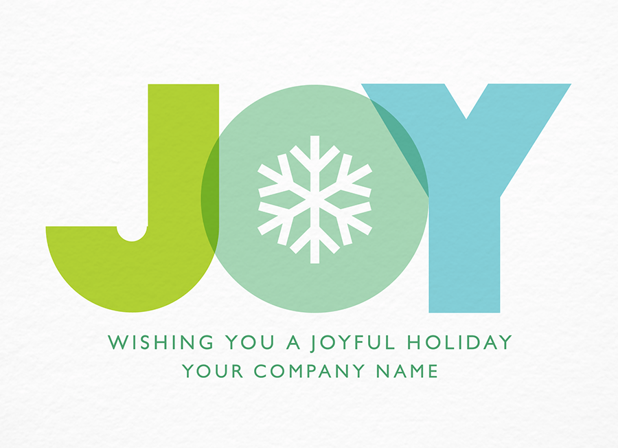 Blue Joy Snowflake Holiday Card