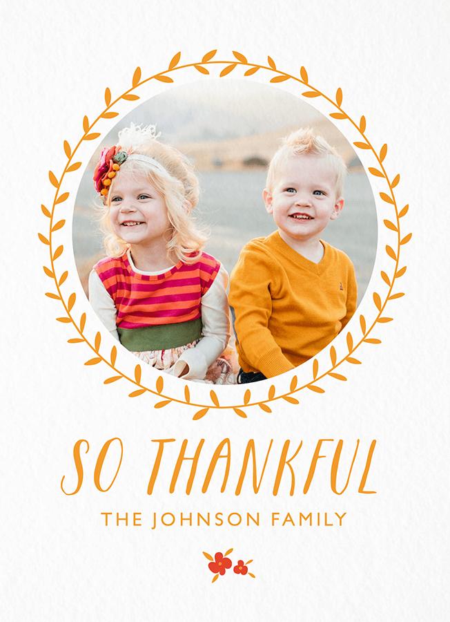 Thankful Wreath Photo Card
