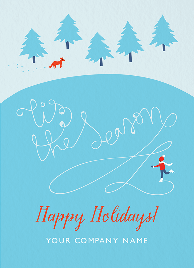 Ice Skating Business Holiday Card