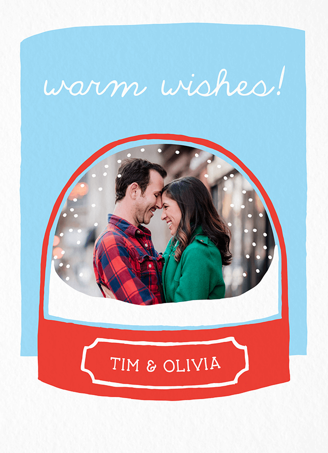 Snow Globe Custom Holiday Card