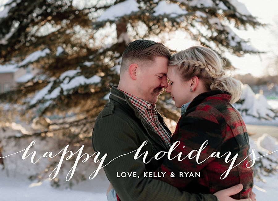 White Script Customizable Holiday Card