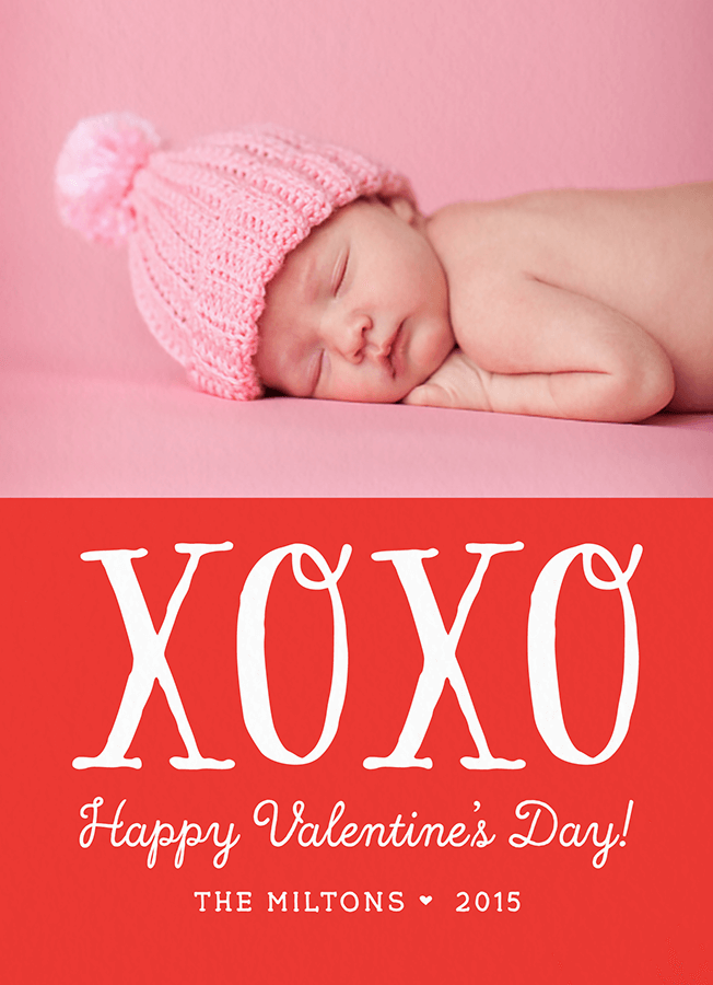 XOXO Custom Photo Valentine Card